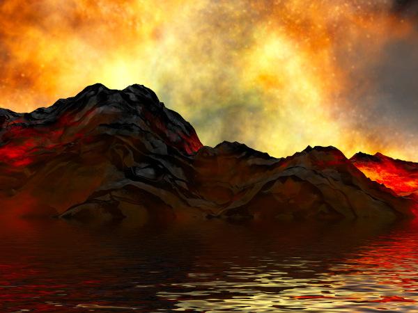 Ilustração de paisagem natural antiga com atividade vulcânica.