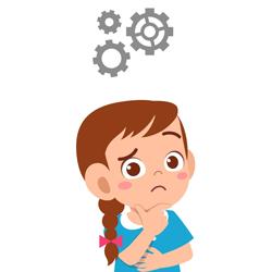 ilustração menina com expressão de dúvida