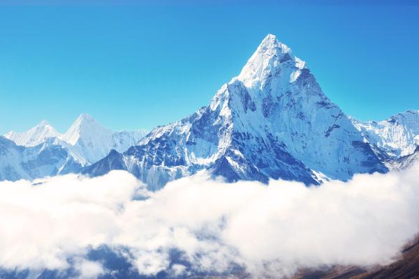 Foto do Monte Everest, no Himalaia.