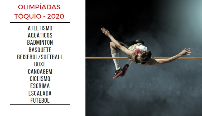 Lista de algumas modalidades disputadas nas Olimpíadas de 2020, à esquerda, e um atleta de salto, à direita.