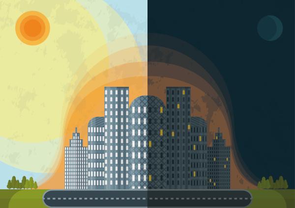 Ilustração exemplificando a retenção de calor na área urbana tanto de dia como à noite.