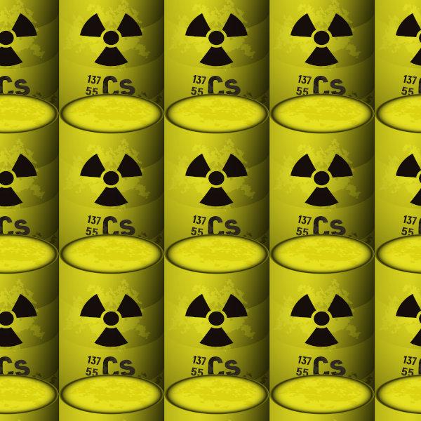 Ilustração de tambores de césio-137 com símbolo de radioatividade.