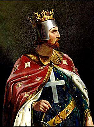 Rei Ricardo, coração de leão. No peito, a cruz, principal símbolo do cristianismo.