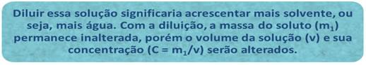Definição conceitual de diluição de soluções químicas.