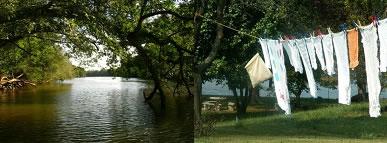 A passagem do estado líquido para o gasoso da água do rio e das roupas que secam no varal são exemplos de evaporação.
