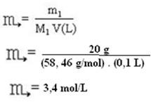 Resolução de exercício sobre concentração em mol/L