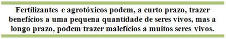 Resultado do uso de fertilizantes e agrotóxicos