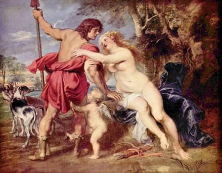 """A  intensidade das cores quentes - """"Vênus e Adônis"""". Peter Paul Rubens (1577-1640) Espanha"""