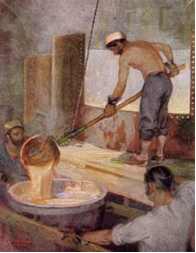 Os sabões passaram a ser produzidos em indústrias europeias, seguindo uma fórmula química exata.