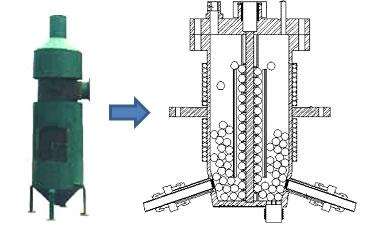 Esquema de um reator pirolítico