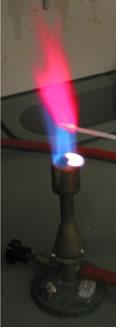 Teste de chamas de acordo com o segundo exemplo, um método alternativo.