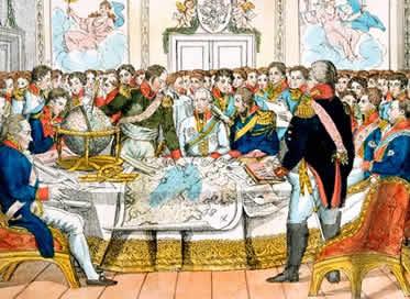Os monarcas europeus discutem a reorganização do mapa político da Europa pós-Napoleônica