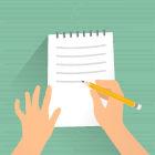 Ilustração de mão escrevendo em caderno