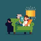 Ilustração de criança lendo livro em sofá