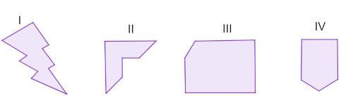 Imagens de polígonos côncavos e convexos.
