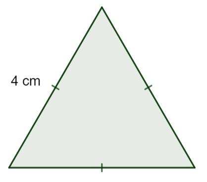 Triângulo equilátero com os lados medindo 4 cm.