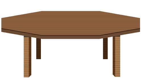 Mesa com tampo em forma de octágono.