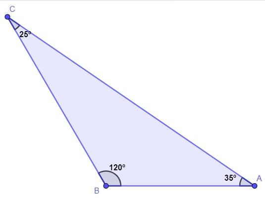 Triângulo escaleno com valores de ângulos internos iguais a 25º, 120º e 35º.
