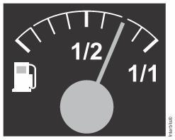Marcador de combustível com indicação de que o tanque está um pouco mais da metade — questão Enem 2016