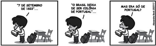 Tirinha Armandinho sobre a independência do Brasil