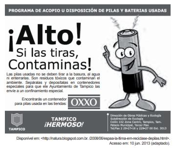 Campanha publicitária sobre um programa de recolhimento de pilhas, em espanhol.