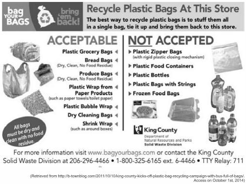 Cartaz informativo, em inglês, com orientações a respeito de reciclagem — enunciado questão UPF 2015.