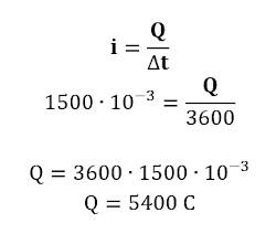 Cálculo da quantidade de carga fornecida por bateria de 1500 mAh