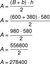 Cálculo de área de trapézio com bases medindo 600 cm e 380 cm, e altura de 580 cm.