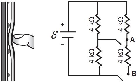 Esquema de circuito presente em tela resistiva