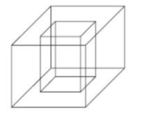 Ilustração de porta-lápis de madeira em formato cúbico