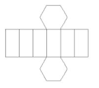 Representação de figura formada por 6 retângulos congruentes e 2 hexágonos congruentes