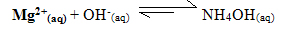 Reação de neutralização dos ânions magnésio e hidroxila