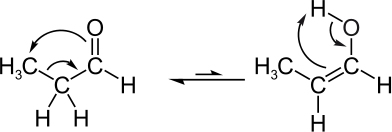 Tautomeria aldoenólica entre propanal e propenol