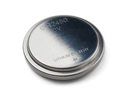 A pilha de lítio tem o formato de uma moeda