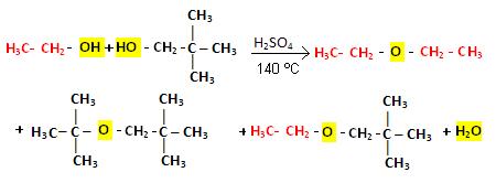 Reação de desidratação intermolecular entre duas moléculas diferentes de álcoois