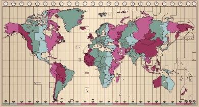 Os diferentes fusos horários em todo o planeta