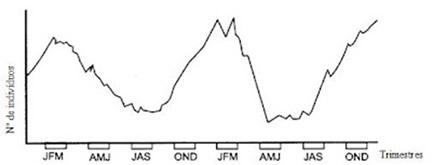 Flutuação do número de indivíduos de determinada população do cerrado mineiro