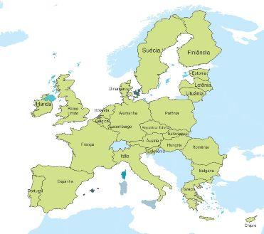 Mapa com os países que atualmente compõem a Europa dos 27