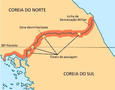 Mapa da zona fronteiriça das Coreias