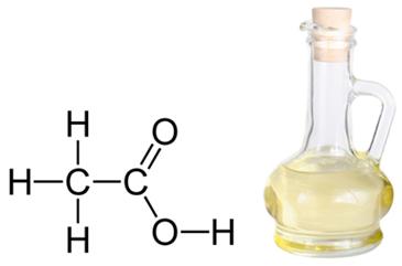 Fórmula estrutural do ácido etanoico ou acético