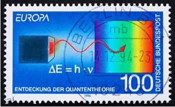 Selo impresso na Alemanha (1994) que mostra a descoberta da teoria quântica de Max Planck[2]