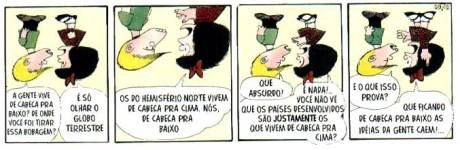 """Mafalda ironizando o fato de o mundo subdesenvolvido estar """"para baixo"""""""