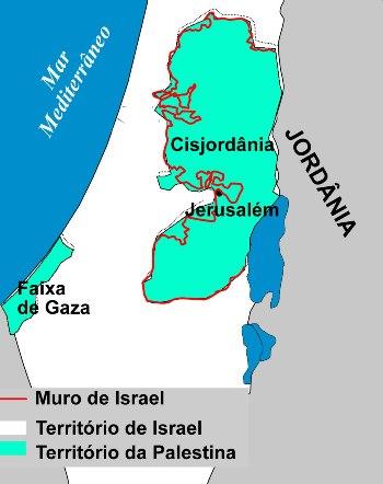 Mapa de localização do Projeto de Construção do Muro de Israel, na Cisjordânia