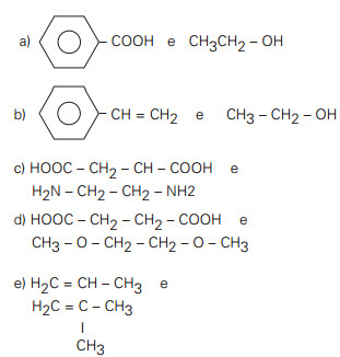 Alternativas de exercícios de polímeros de condensação
