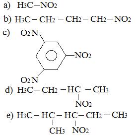 Exercício com fórmulas de nitrocompostos