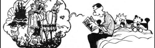 Calvin e Haroldo, de Bill Watterson. Um texto icônico pode ser autoexplicável, não necessitando de um texto verbal para ser coerente
