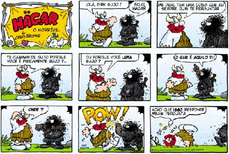 """Tirinha """"Hagar, o Horrível"""", de Chris Browne. A polissemia também pode estar presente nas histórias em quadrinhos e tirinhas"""