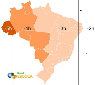 Mapa com os fusos horários brasileiros