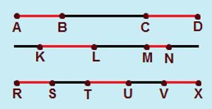 Os segmentos de retas AB e CD são colineares, assim como os segmentos KL e MN, bem como os segmentos RS, TU e VX