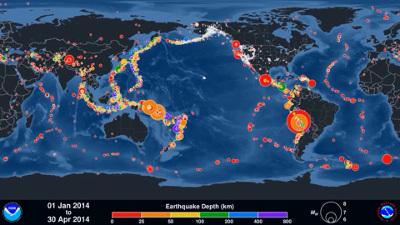 Mapa-síntese dos terremotos no mundo. Compare esse mapa com o do Anel de fogo do Pacífico mostrado a seguir
